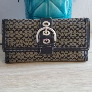 COACH Signature Checkbook Trifold Wallet